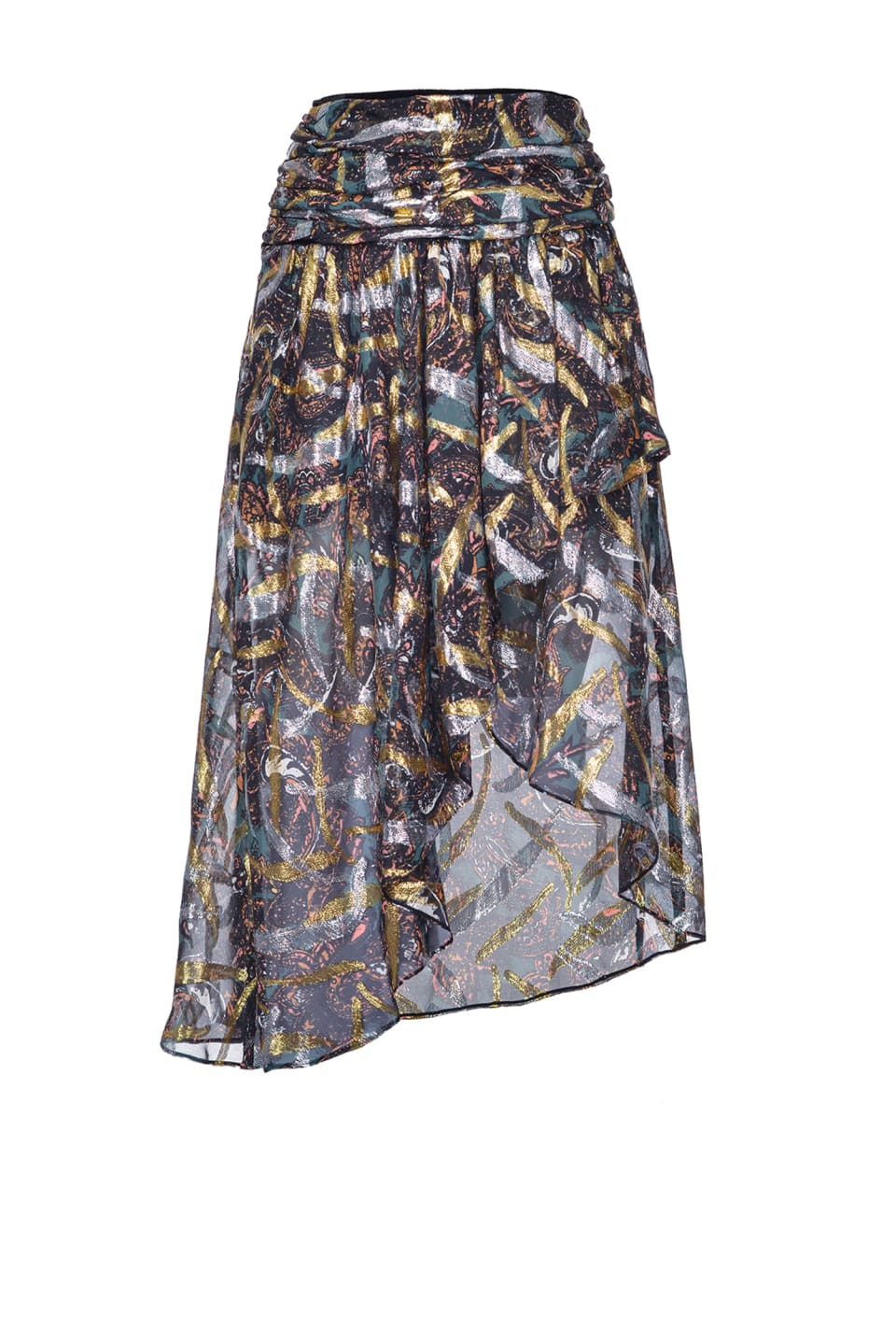 Midi-length skirt in cashmere-print fil coupé - Pinko