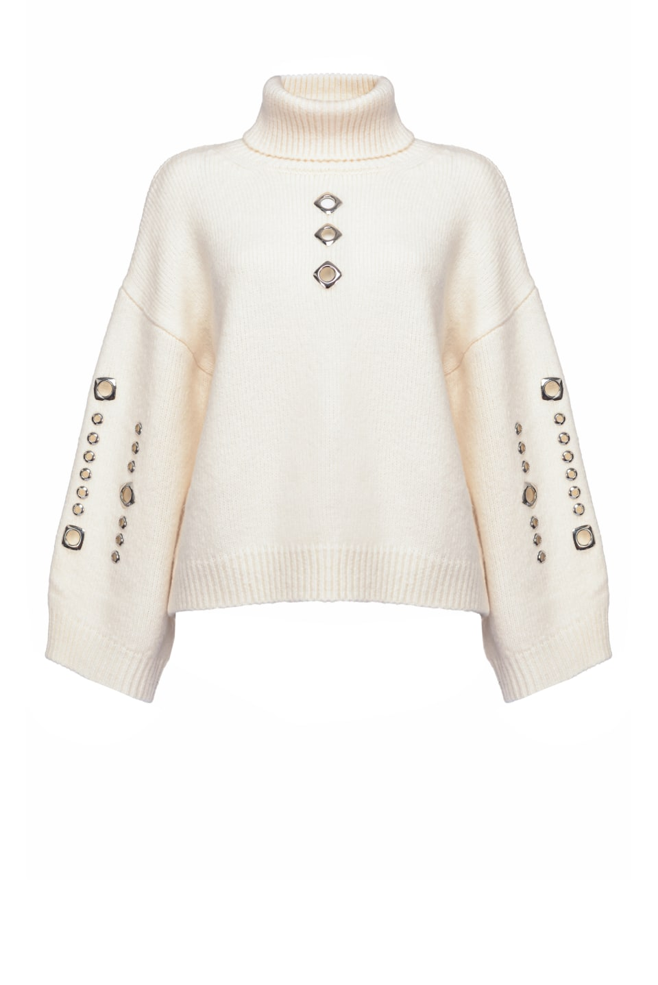 Turtleneck pullover with metal eyelets - Pinko