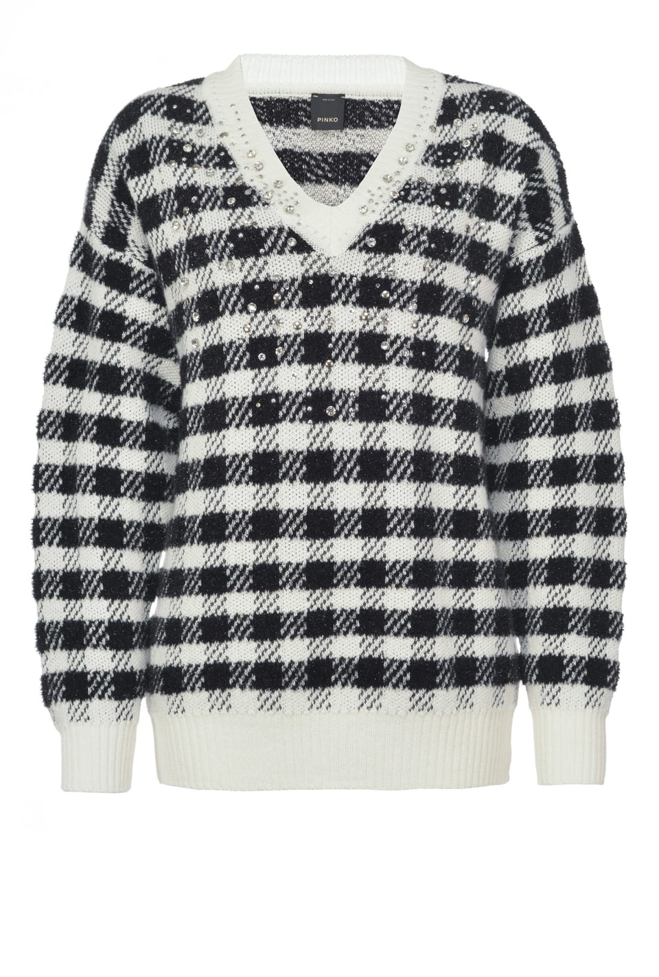Checked jacquard pullover with rhinestones - Pinko