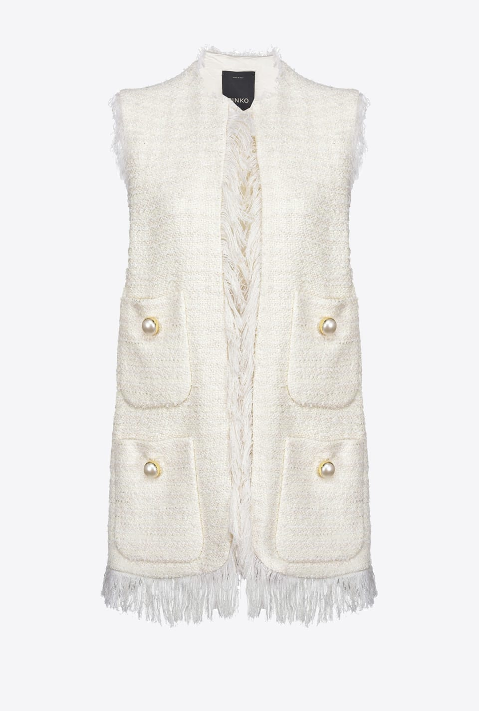 Long tweed waistcoat with fringing - Pinko