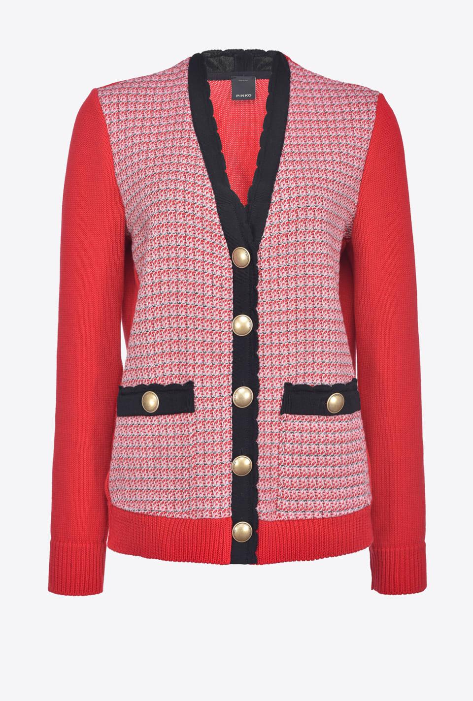 Cardigan in maglia e stuoia - Pinko