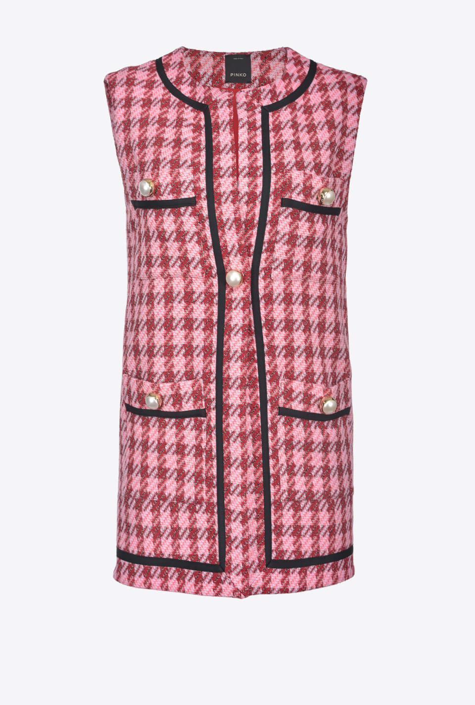 Waistcoat in large check hopsack - Pinko