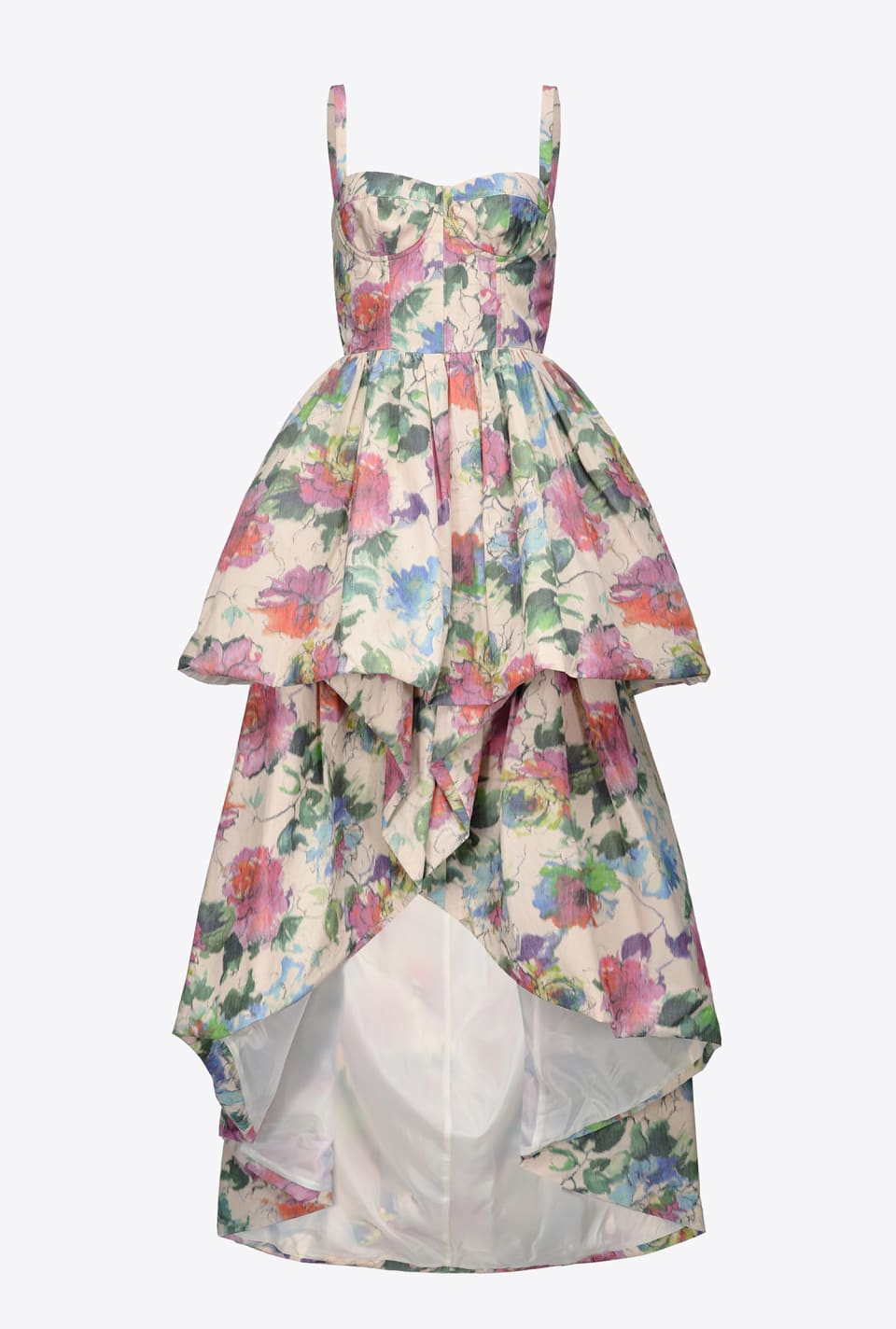 Long dress in blurred edge floral taffeta - Pinko