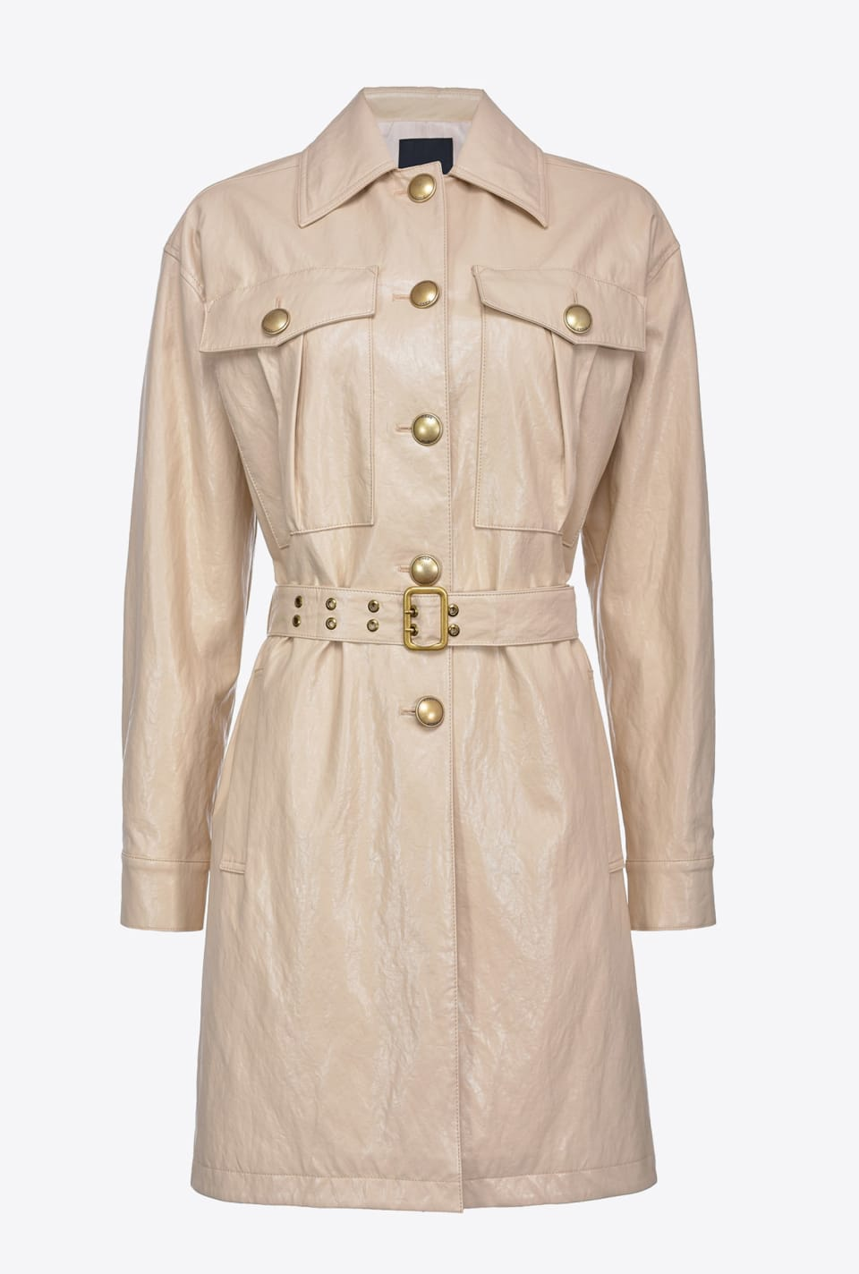 Washed leather-look trench coat - Pinko