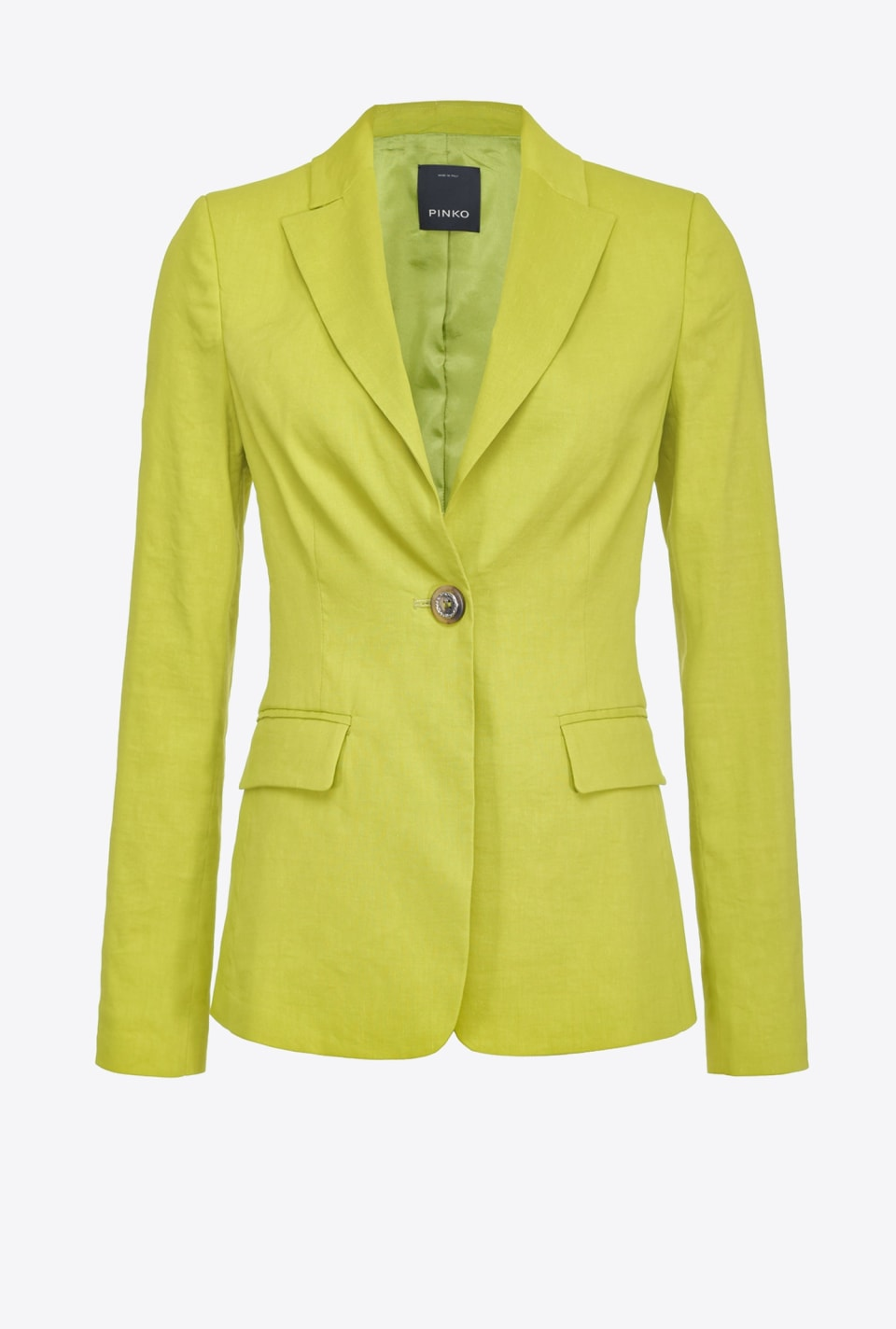 Single-breasted blazer in linen cloth - Pinko