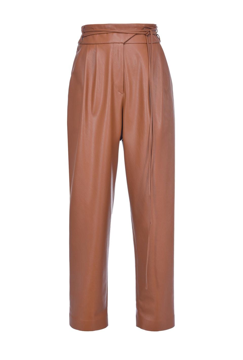侧面开衩皮革效果裤子 - Pinko