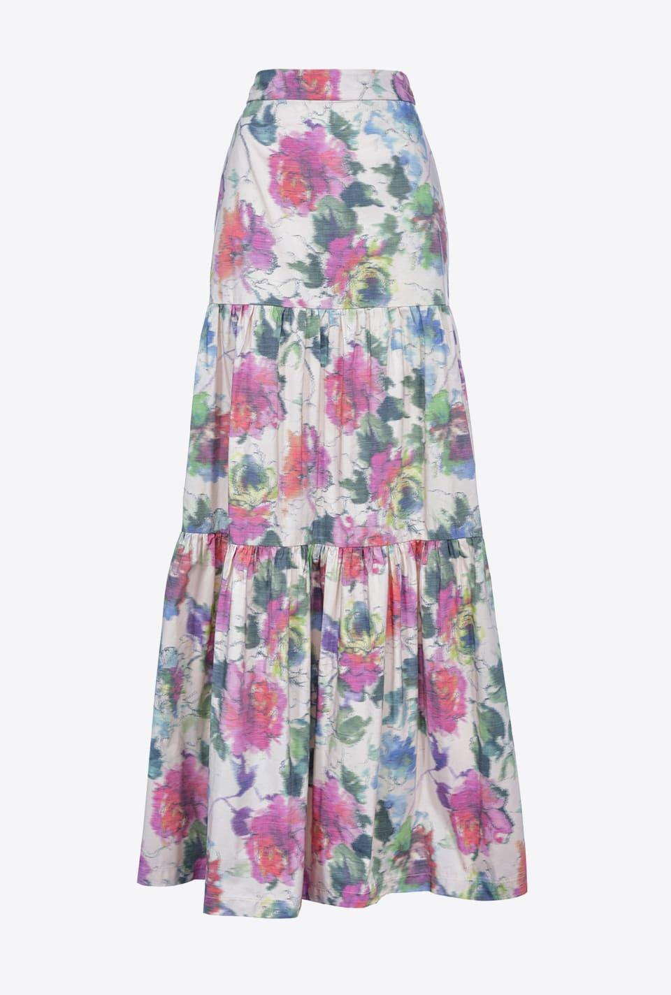 印经平纹花卉塔夫绸长款半身裙 - Pinko