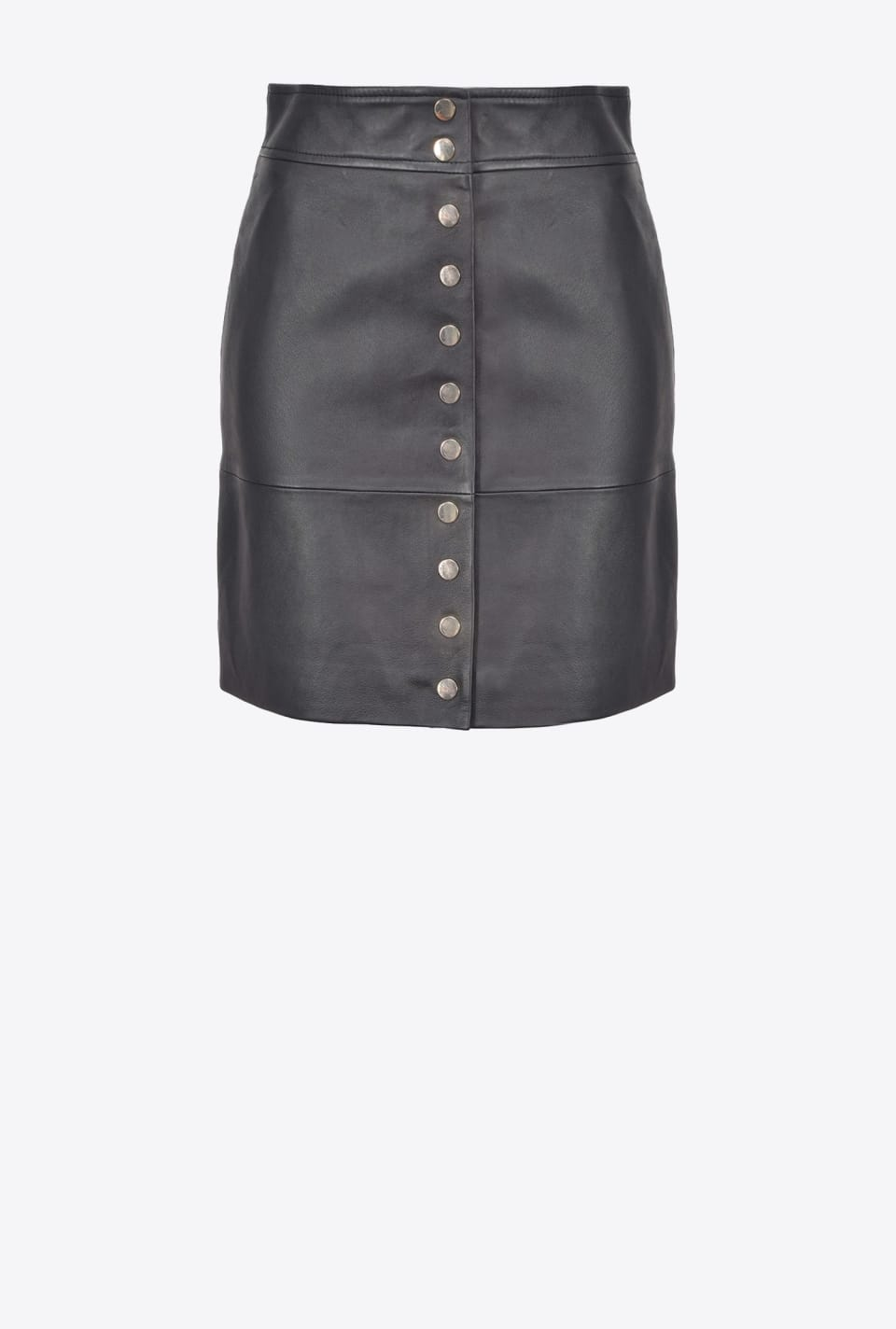 Nappa leather mini skirt with buttons - Pinko