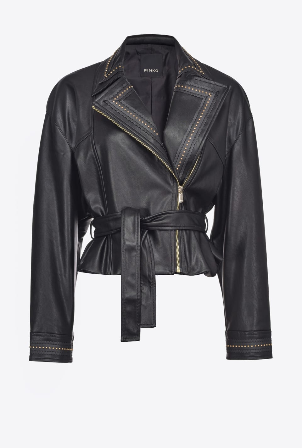 Leather-look biker jacket with studs - Pinko
