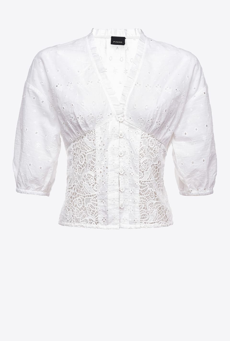 Short blouse in broderie anglaise - Pinko