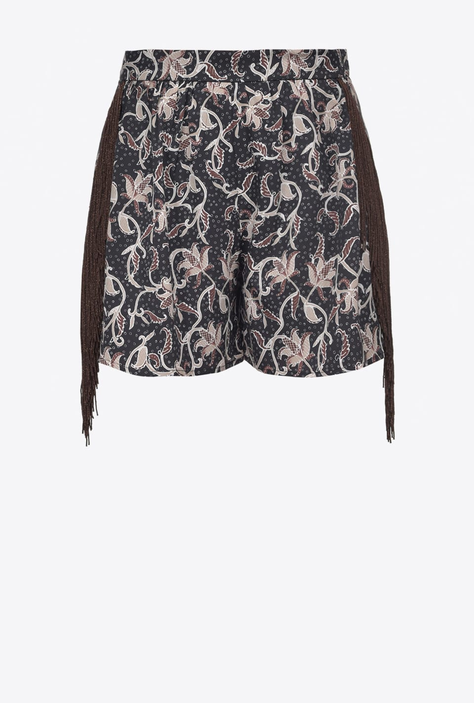 Foliage-print shorts with fringing - Pinko