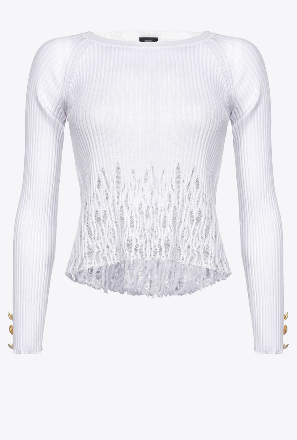 Ribbed top with ripped effect - Pinko