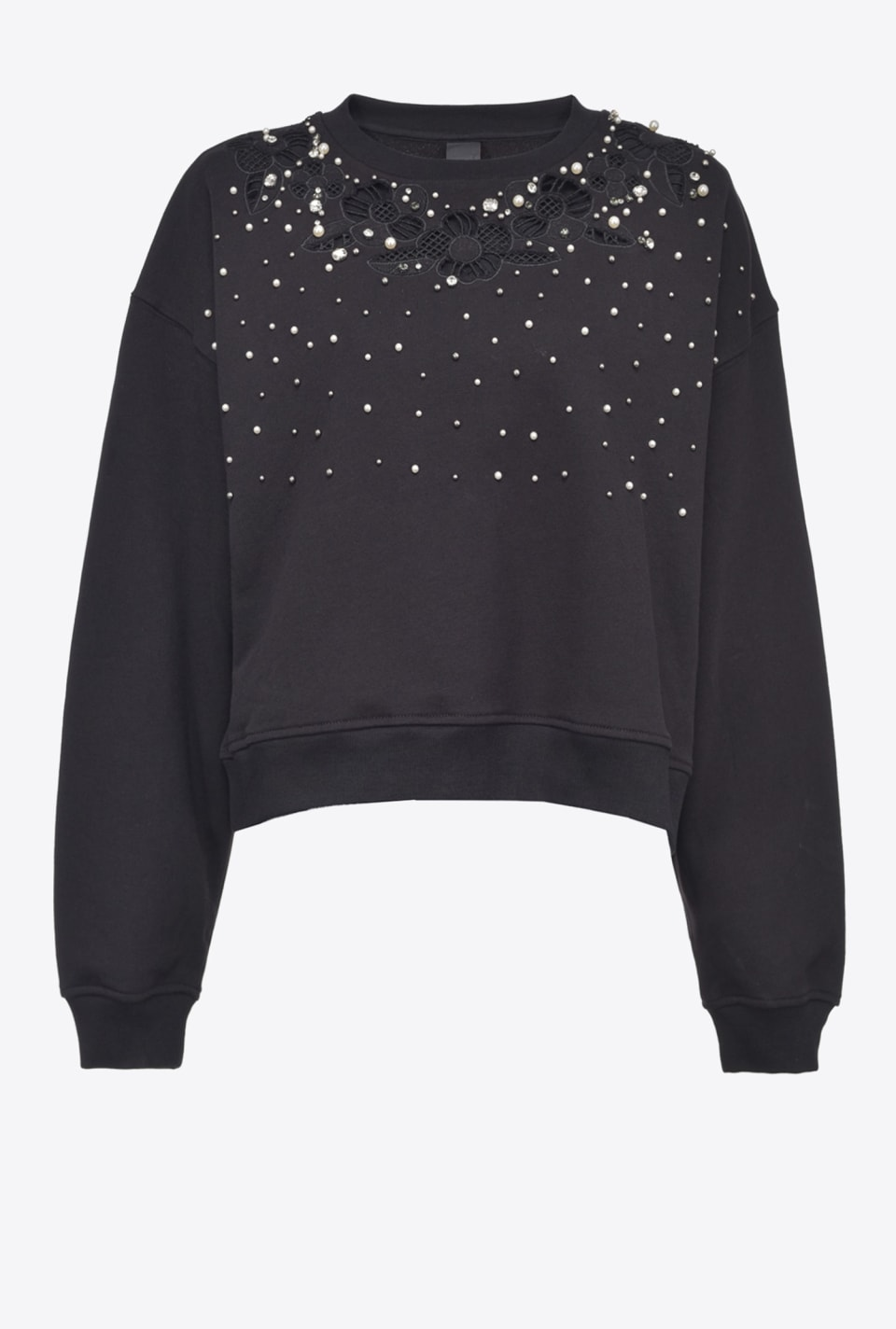Sweatshirt with floral embroidery and pearls - Pinko