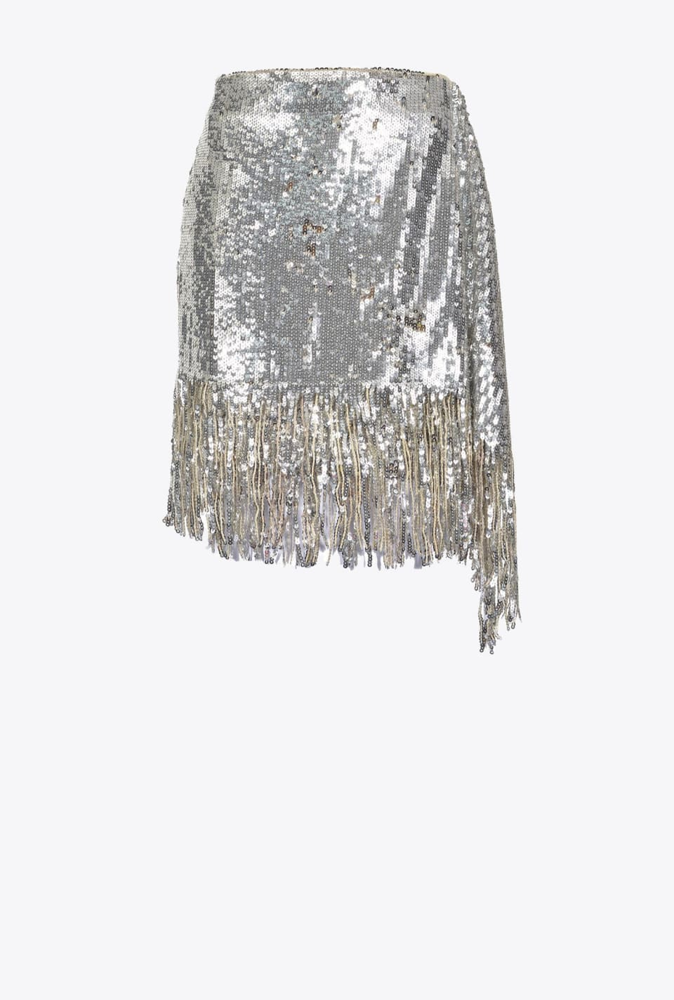 Mini skirt in full sequins with fringe - Pinko