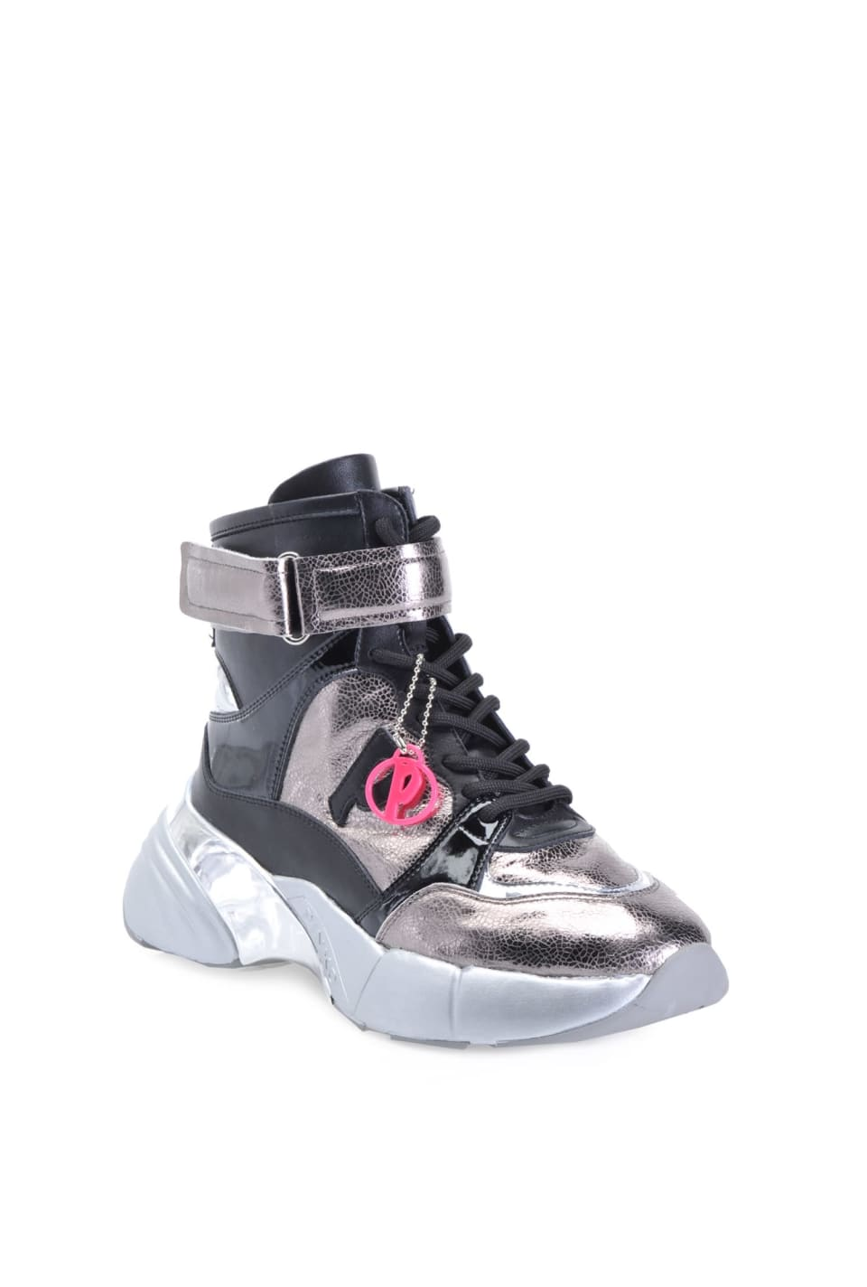 Shoes To Rock high top sneakers in crackle effect and patent leather
