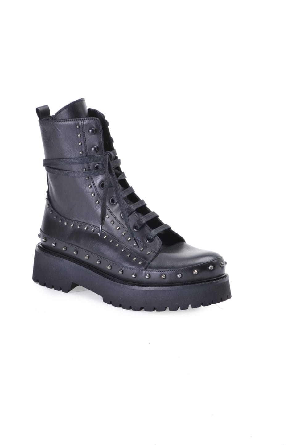 Leather and studs platform combat boots