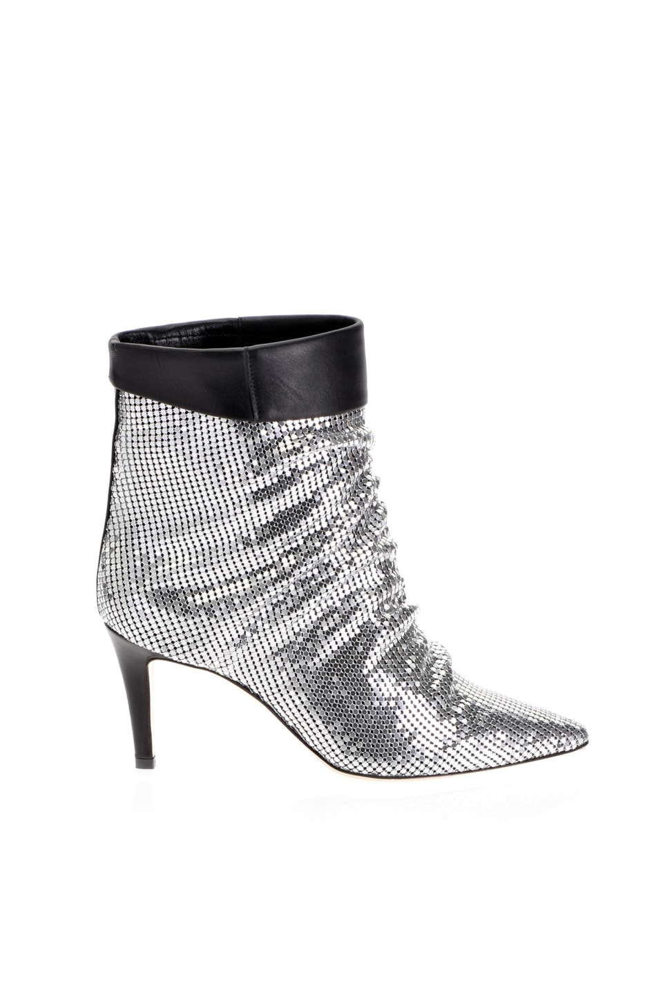 Metallic knit ankle boots