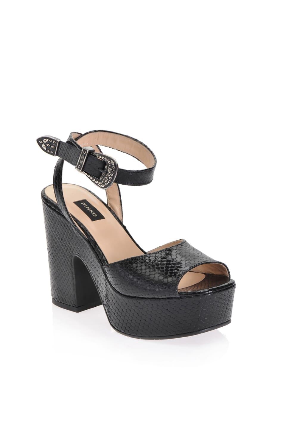 Sandales compensées à imprimé python