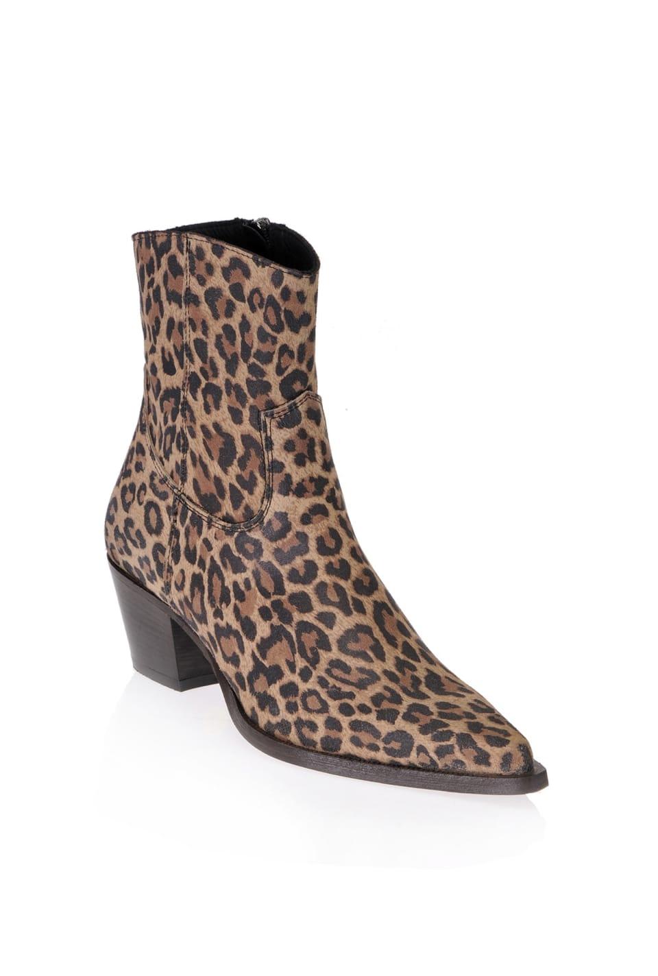 Leopard print cowboy ankle boots