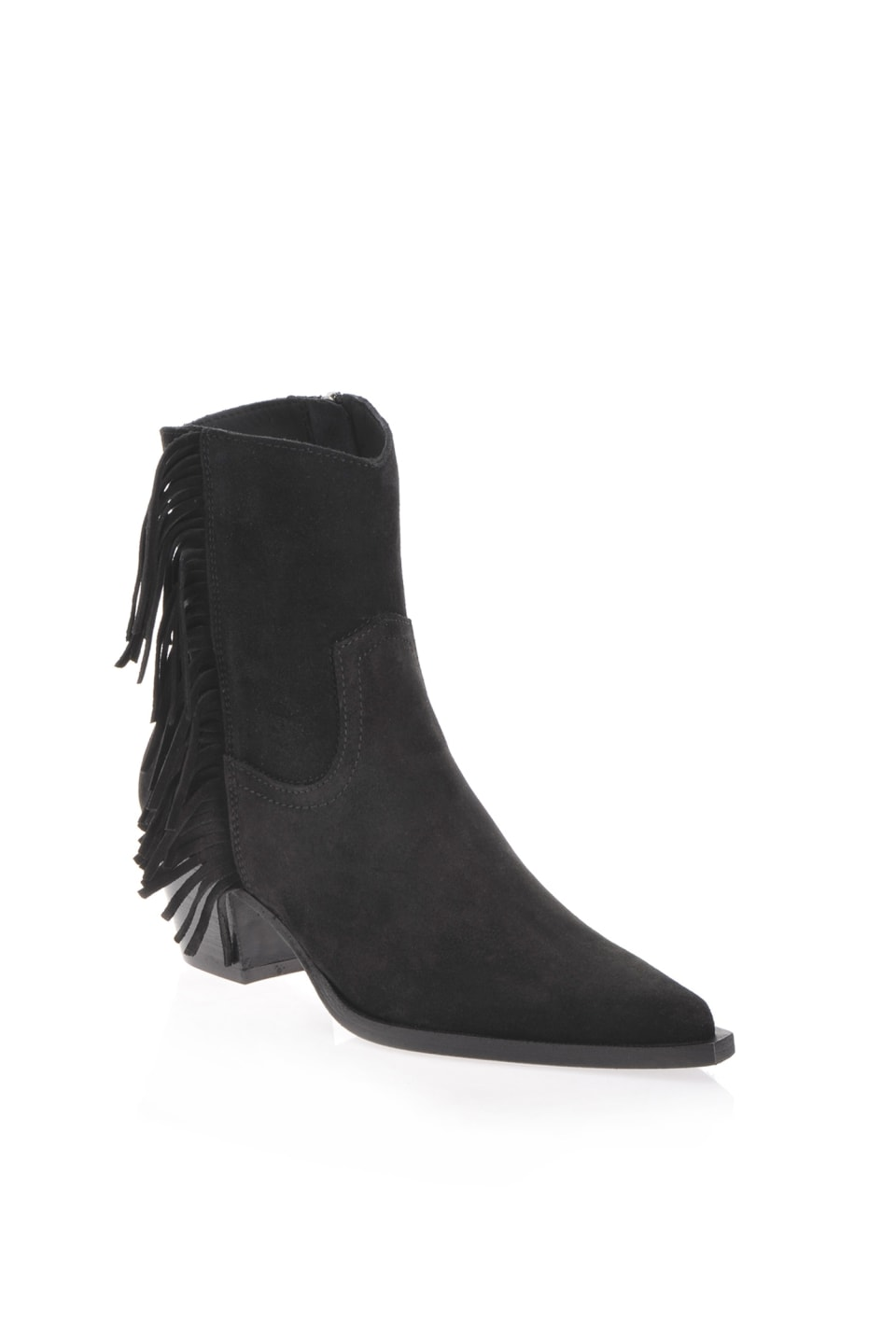 Cowboy ankle boots with fringe