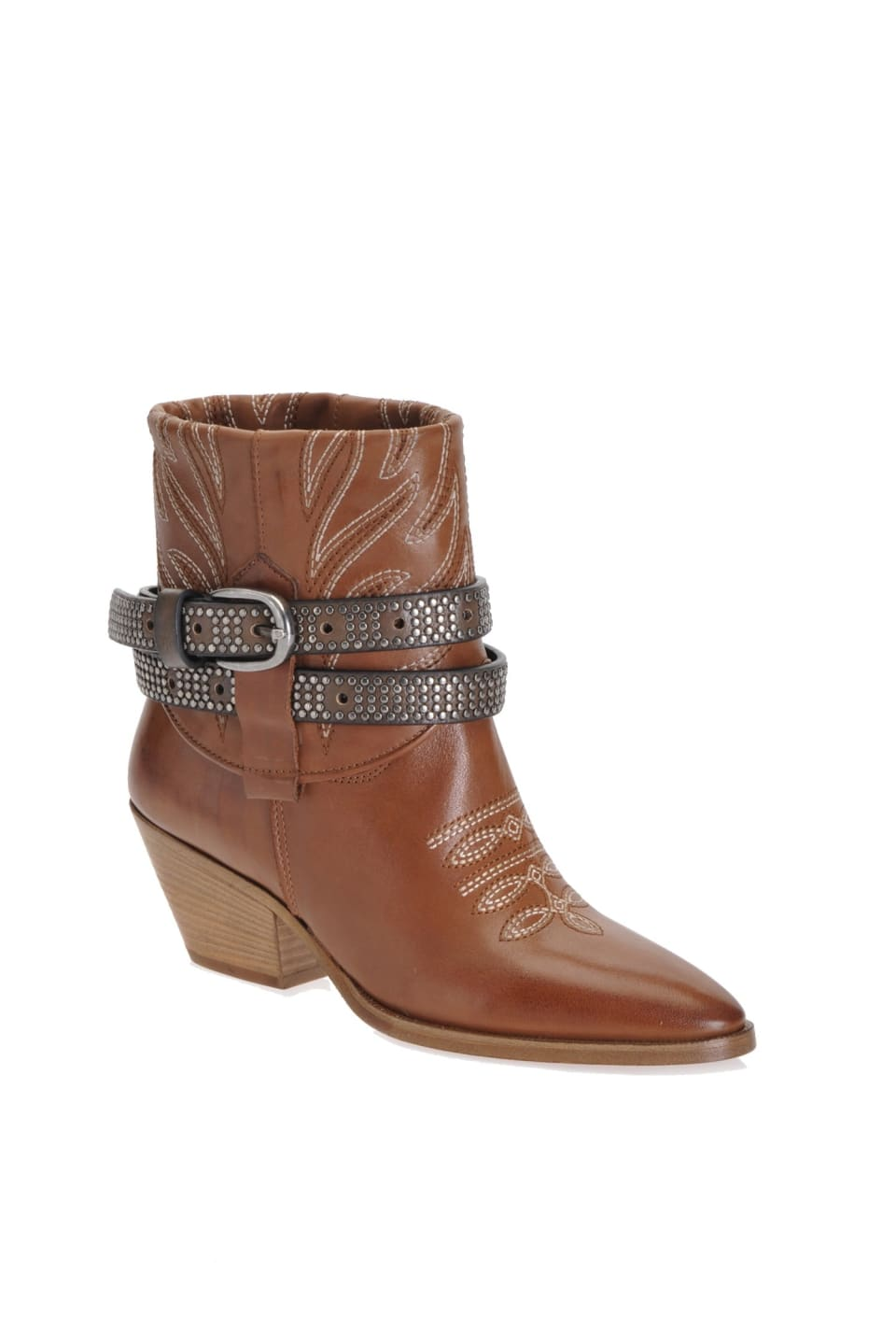 Cowboy ankle boots with embroidery and strap - Pinko