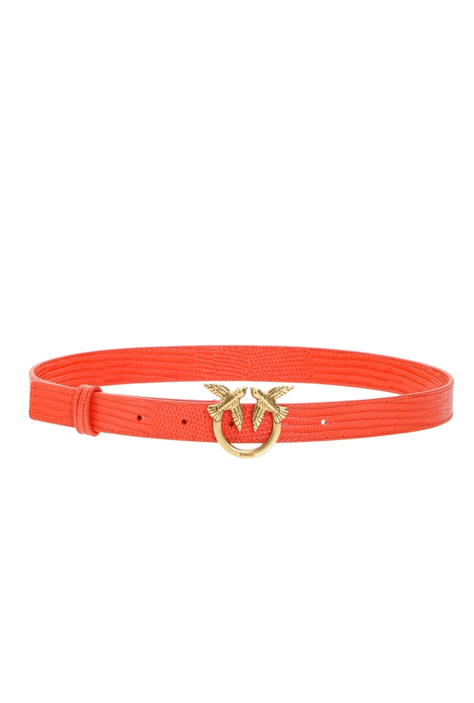 Narrow reptile-look belt with Love Birds buckle - Pinko