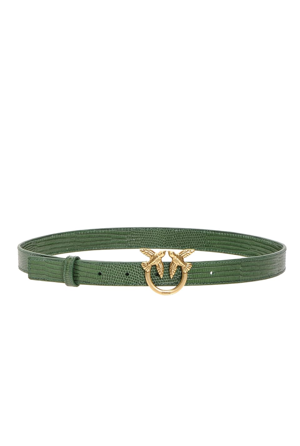 Narrow reptile-look belt with Love Birds buckle - Pinko