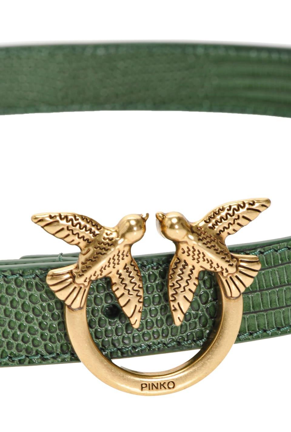 Cinturón bajo efecto reptil con hebilla Love Birds