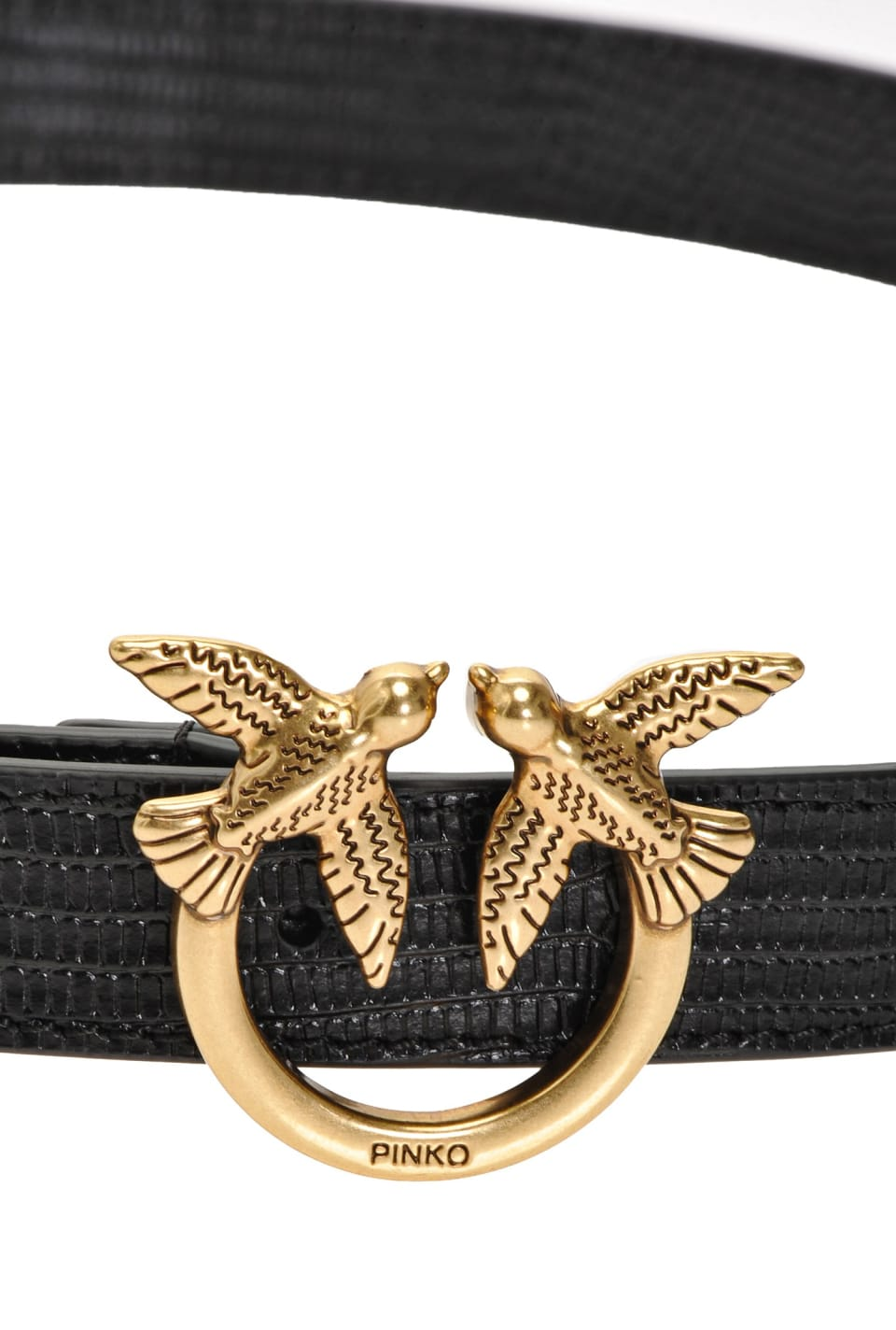 Narrow reptile-look belt with Love Birds buckle
