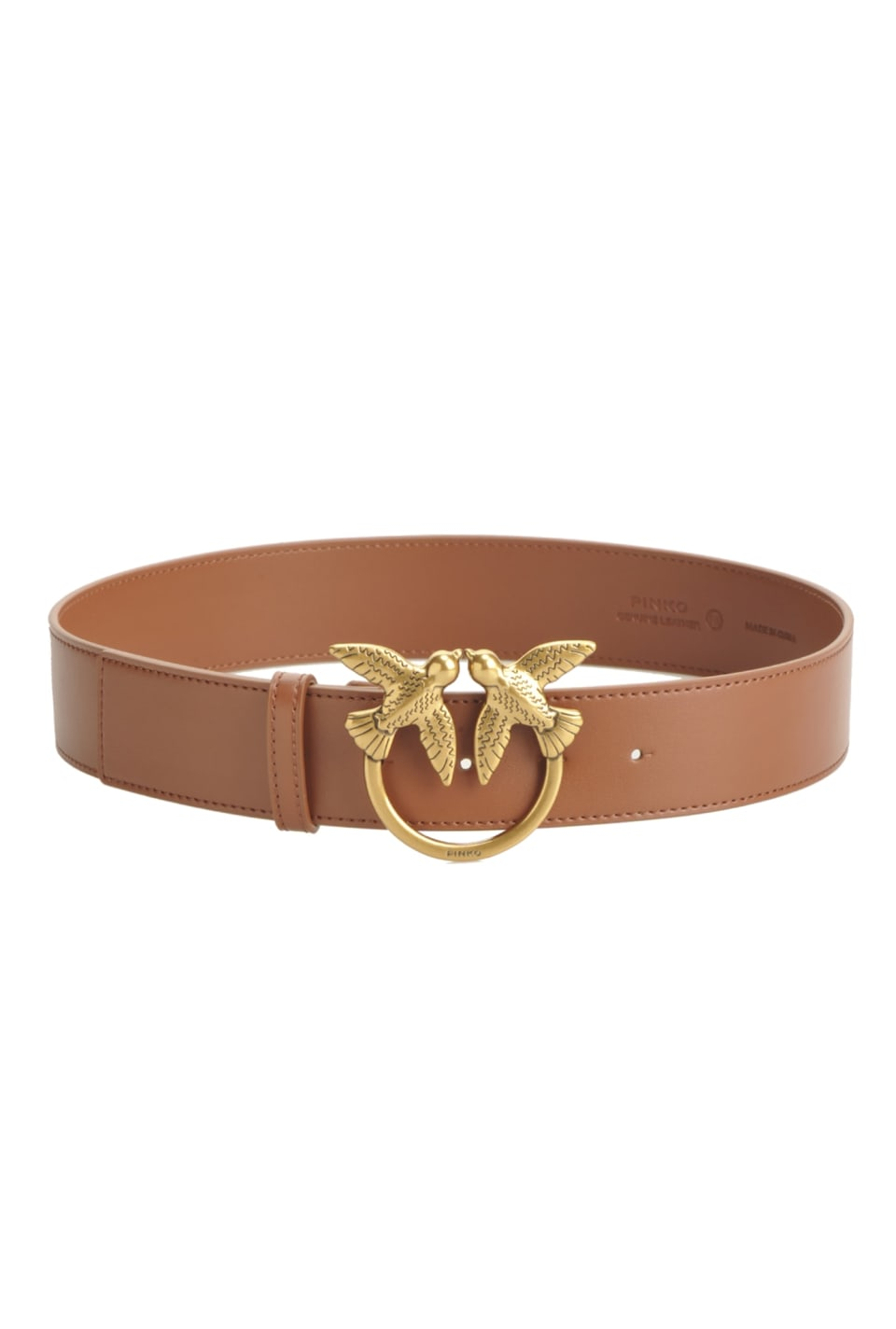 Leather belt with Love Birds buckle