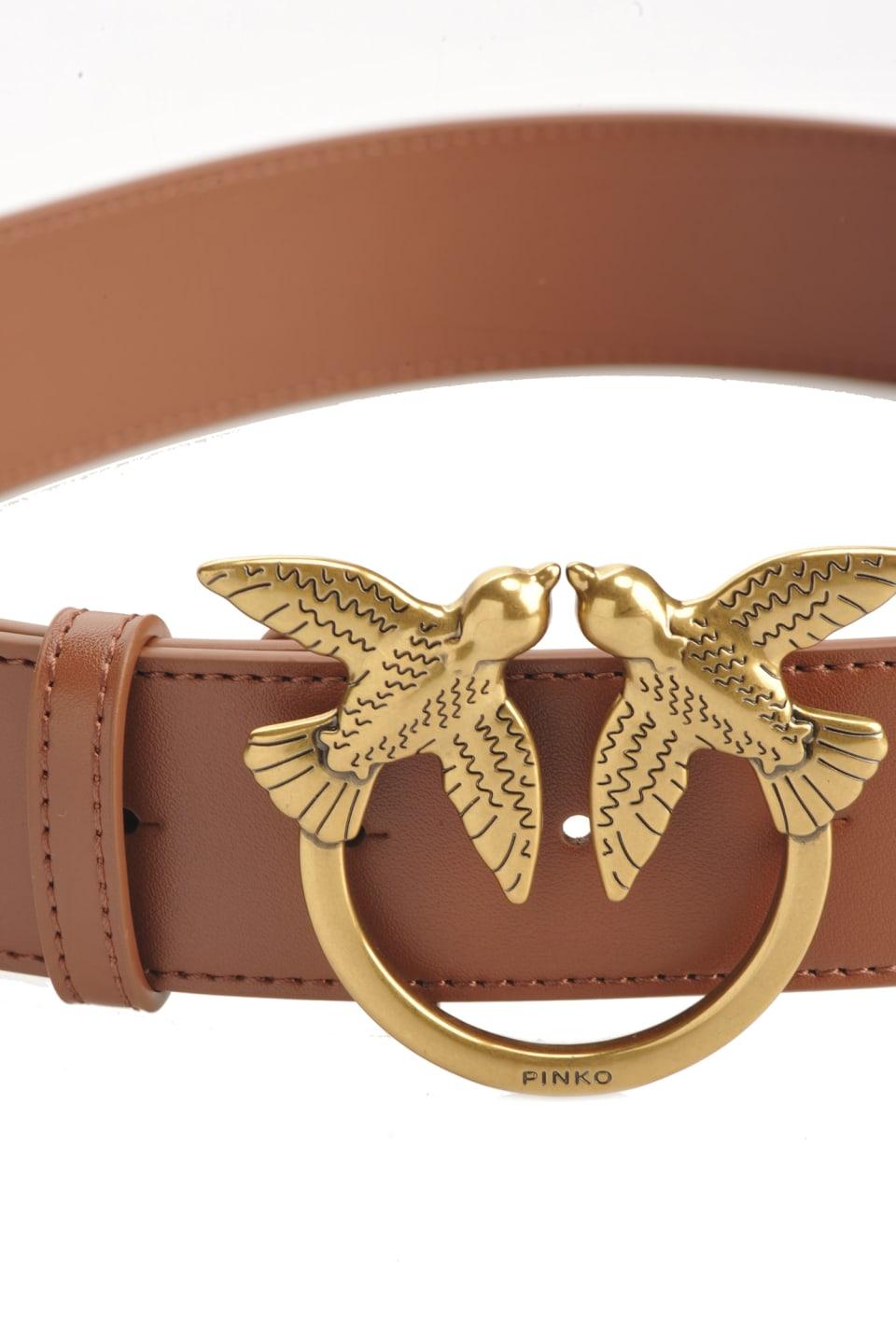 Cinturón de piel con hebilla Love Birds - Pinko