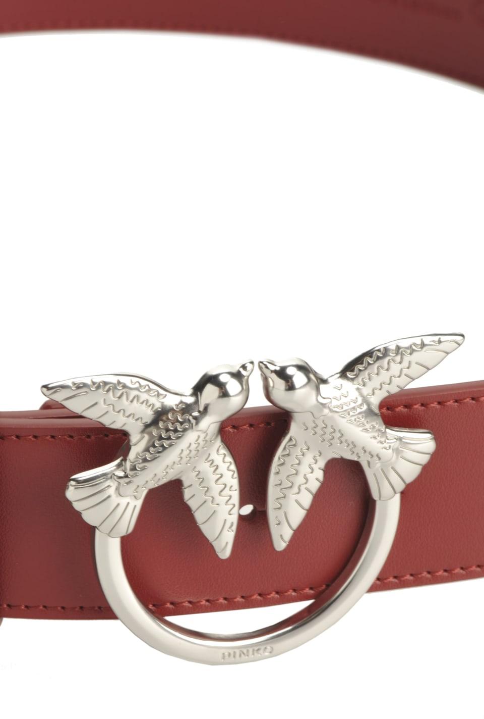 Cintura in pelle con fibbia Love Birds - Pinko