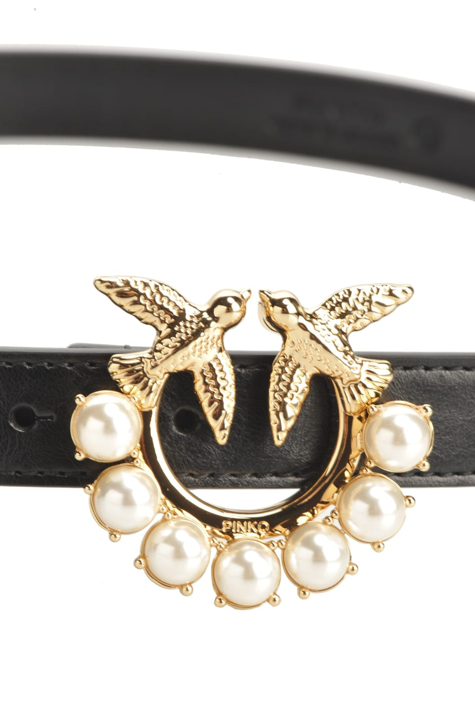 Vintage belt with Love Birds buckle and pearls