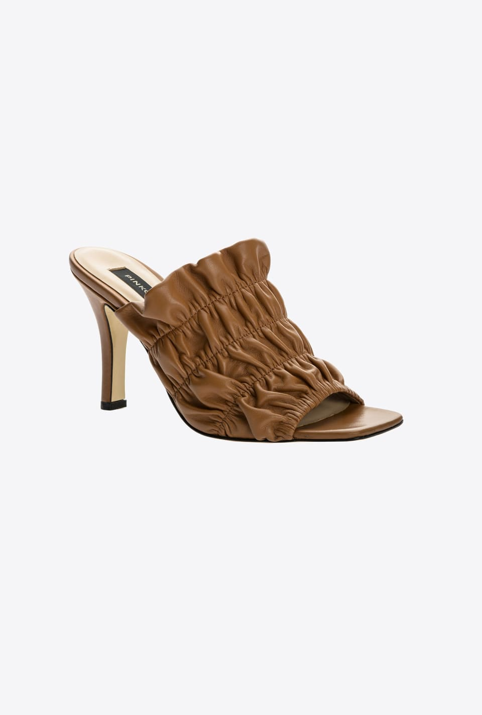 Embossed Nappa leather heeled mule sandals - Pinko