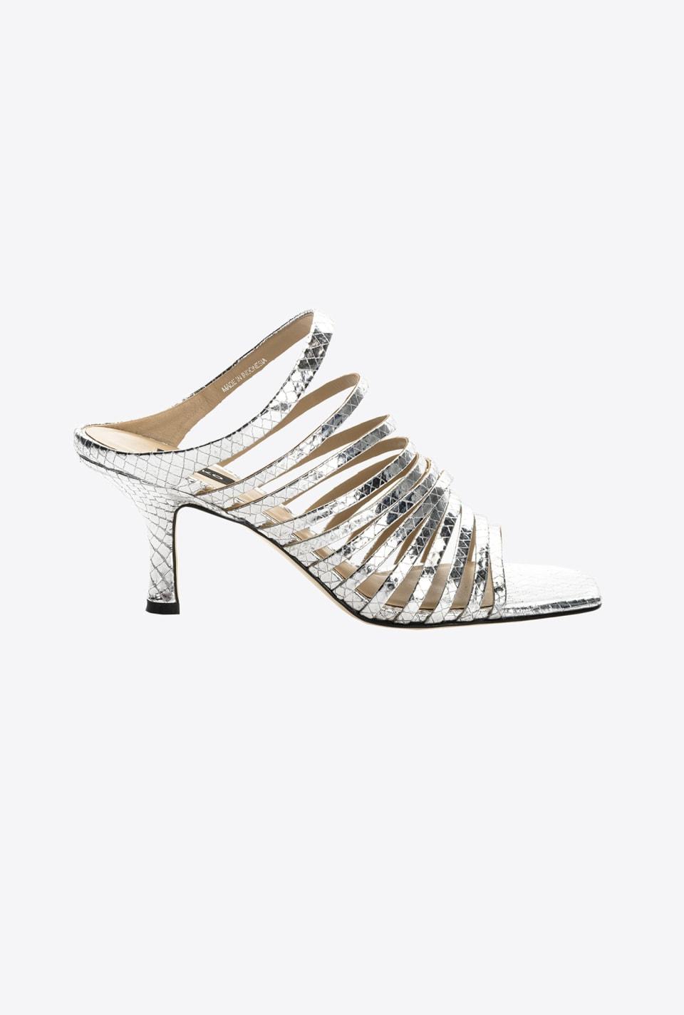 蛇纹印花层压皮革穆勒凉鞋 - Pinko