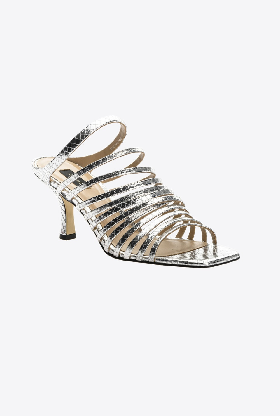 Python-print laminated leather mule sandals - Pinko