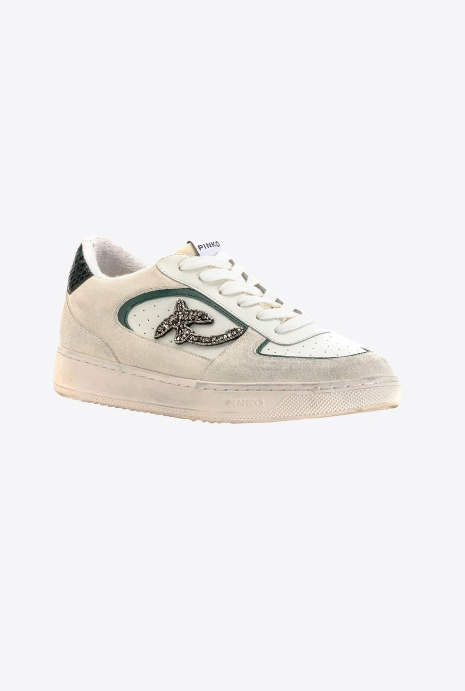 Flat leather sneakers with stones - Pinko