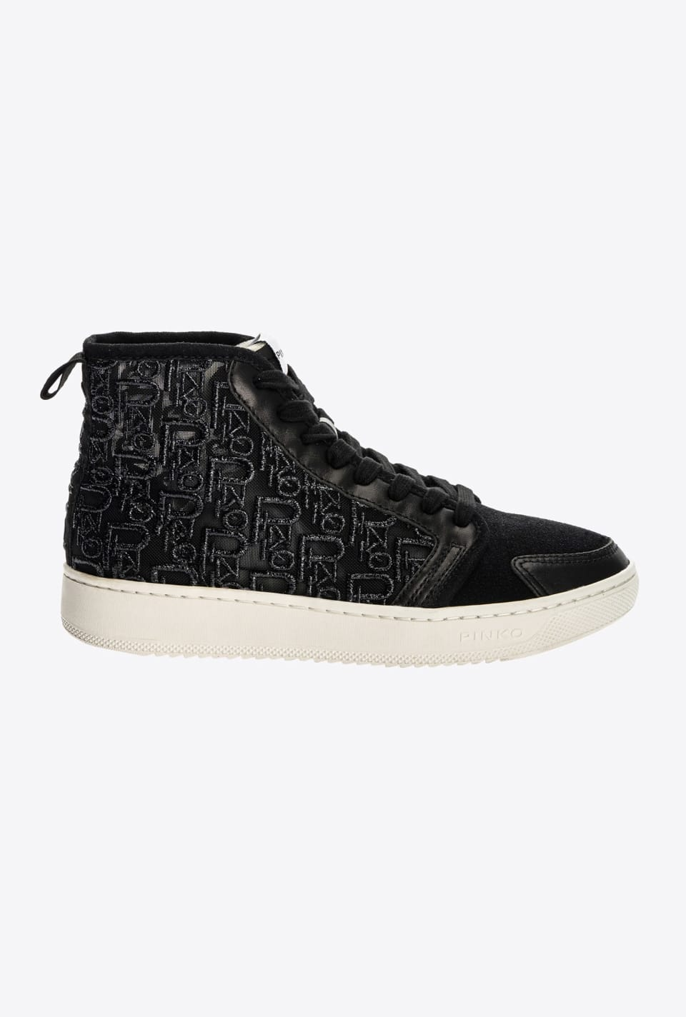 Monogram-embroidered high-top flat sneakers - Pinko