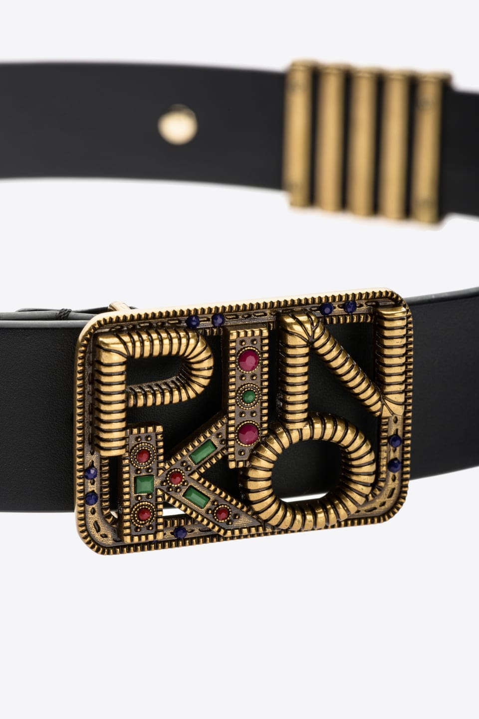 Leather Logo belt with stones - Pinko