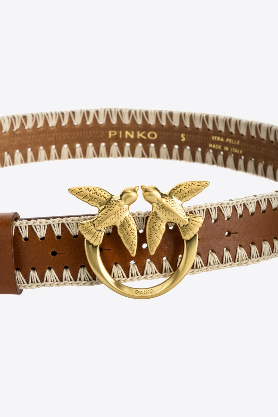 Belt with macramé embroidery and Love Birds buckle - Pinko