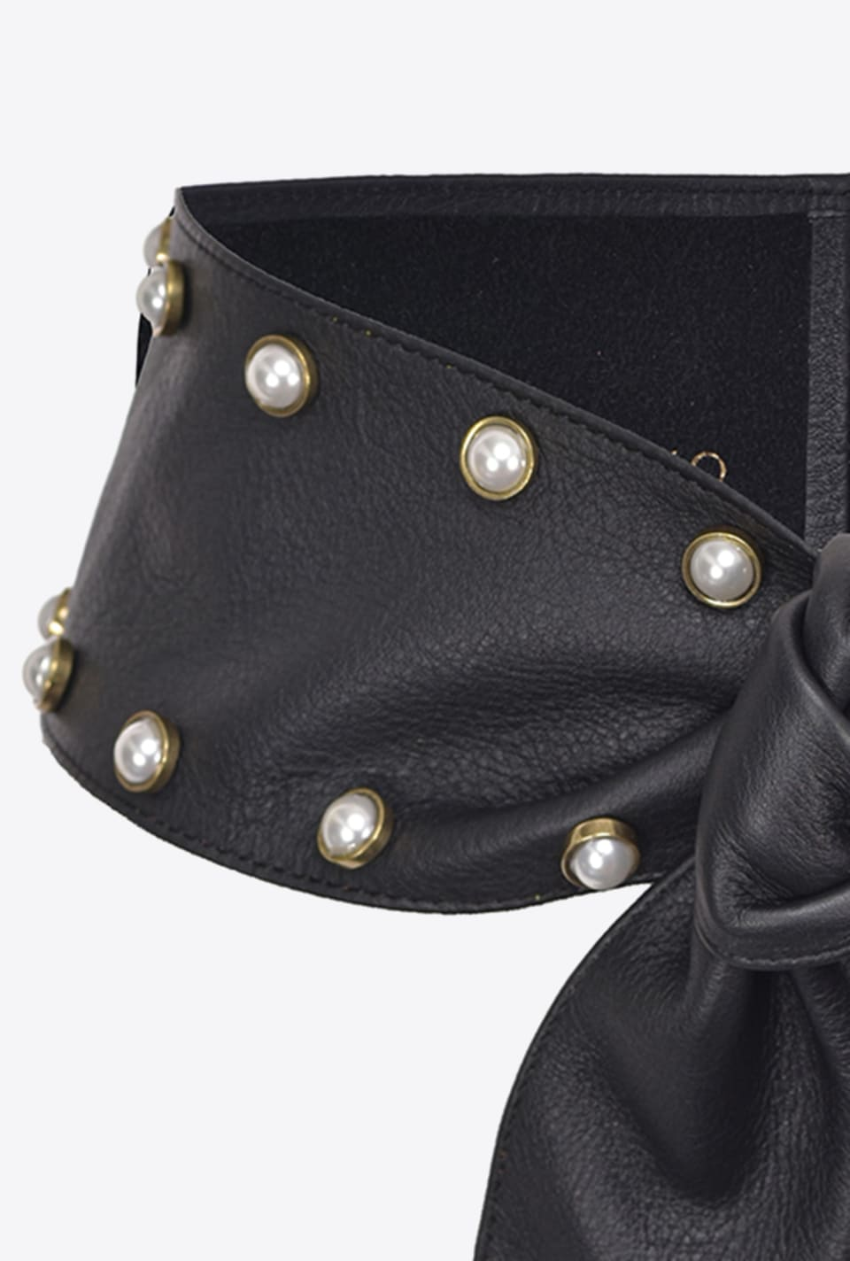 Pearl-embellished Nappa leather belt - Pinko