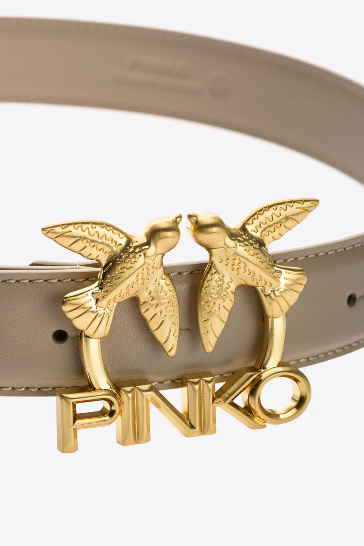 皮革Love Birds徽标腰带 - Pinko