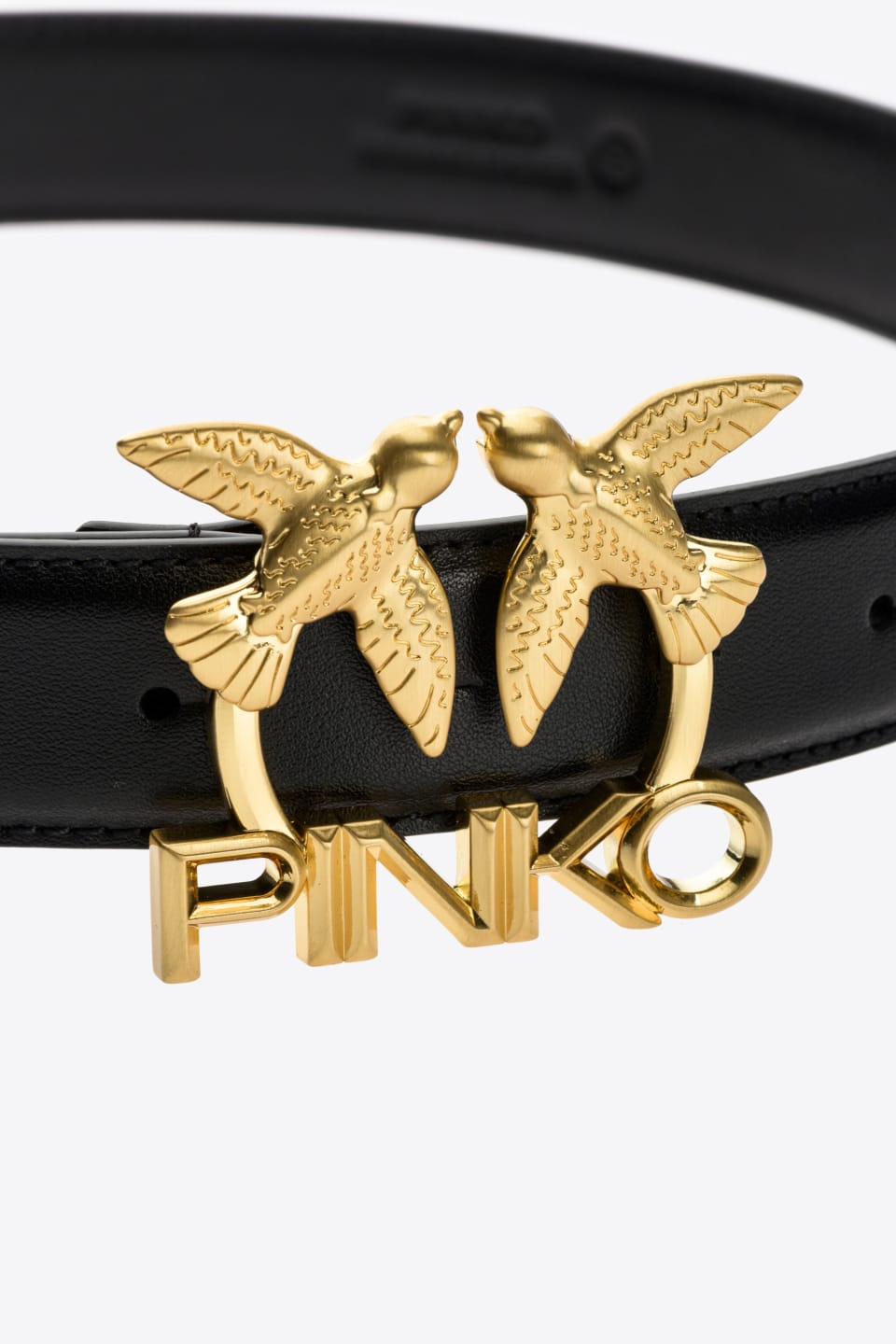 Leather Love Birds Logo belt - Pinko