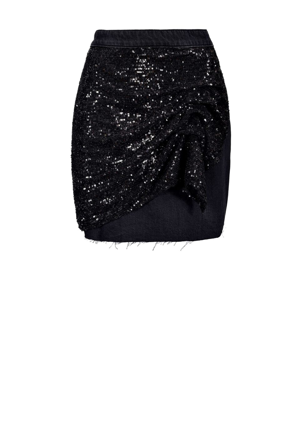 Non-stretch denim mini skirt with sequins