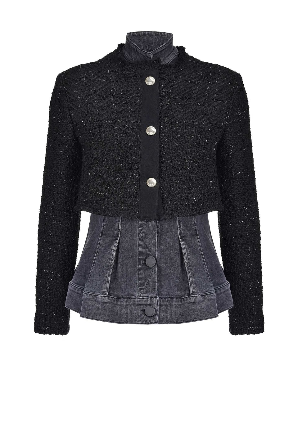 Two-piece jacket in comfort twill and lurex tweed