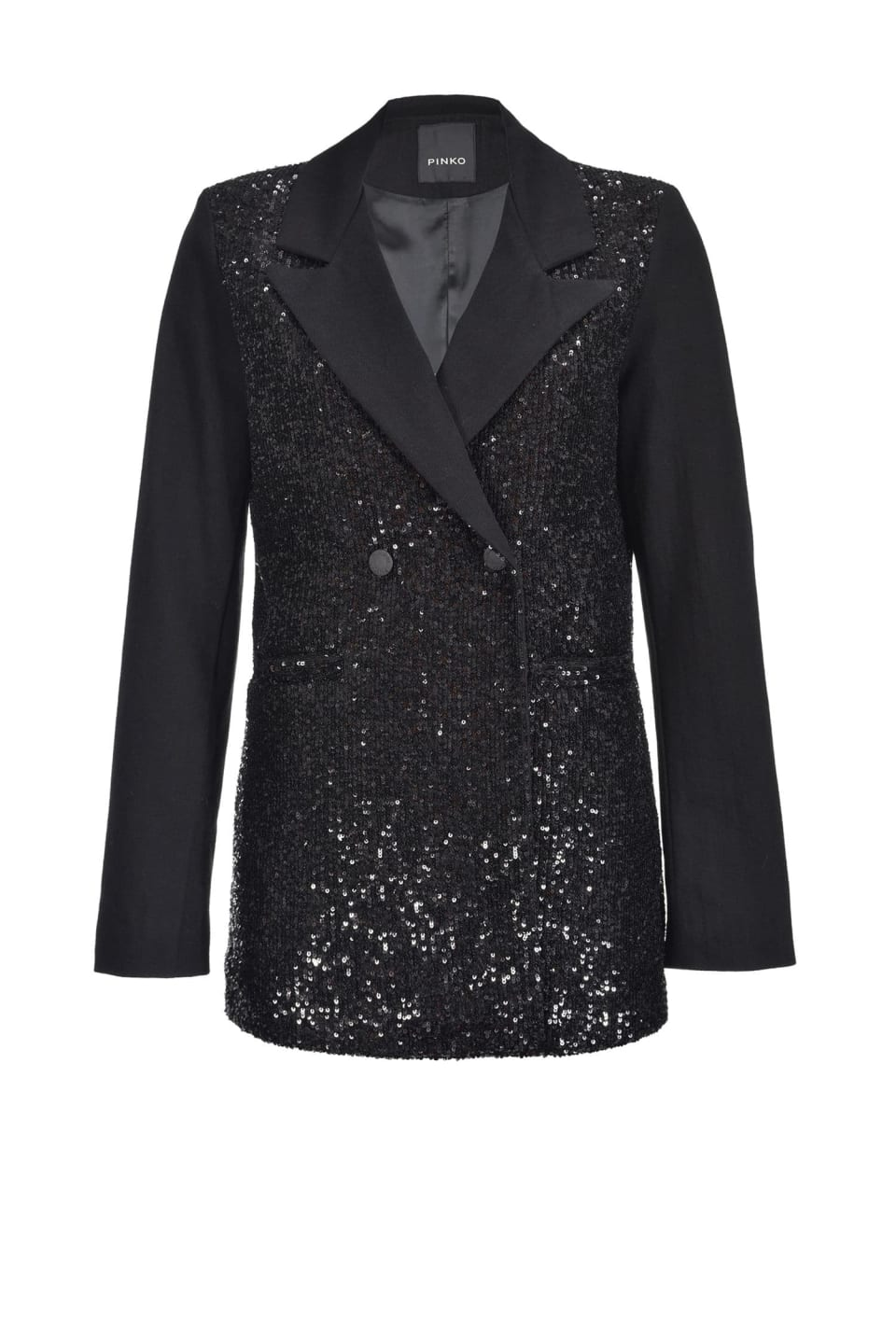 Non-stretch denim blazer with sequins