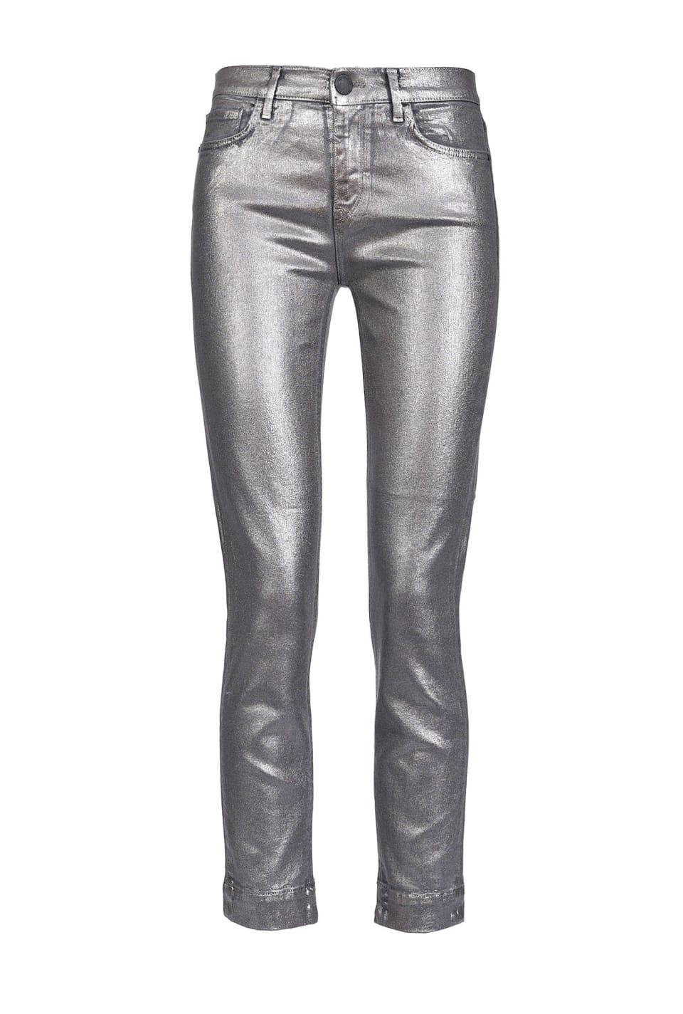 金属效果弹力牛仔布紧身牛仔裤