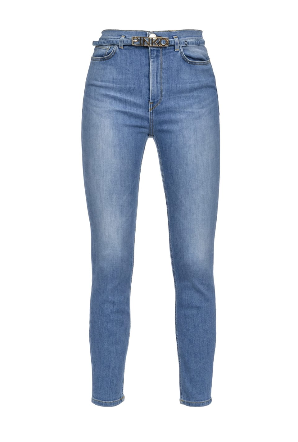 Skinny jeans with logo belt