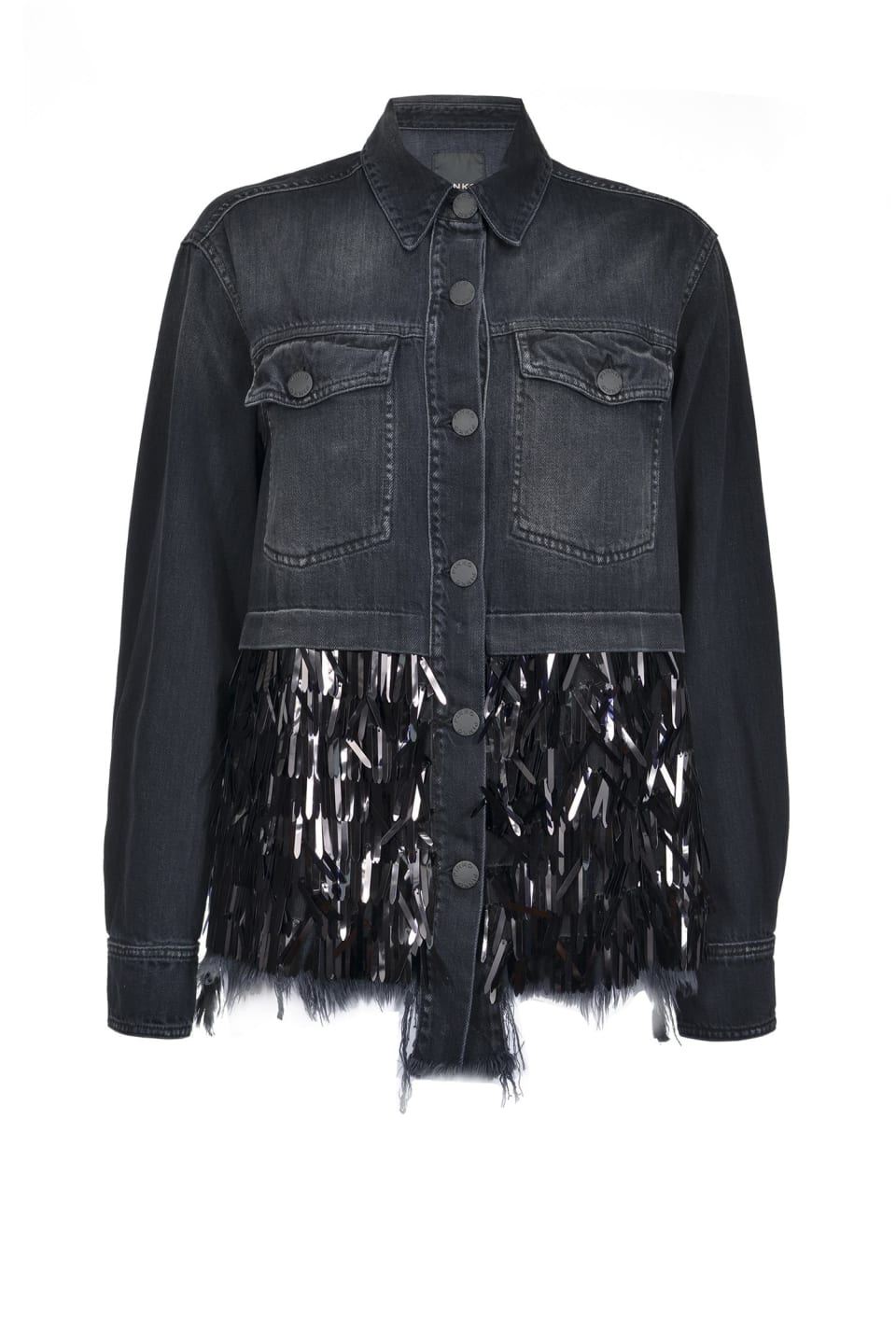 Field jacket with vertical sequins