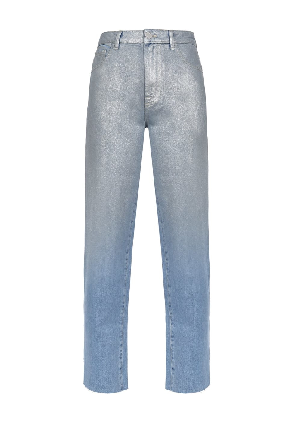 Metallic-effect mom-fit jeans
